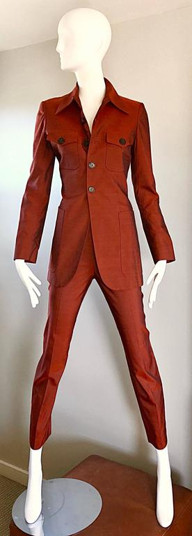Jean Paul Gaultier Early 1990s Vintage Rust Burnt Orange Tailored Cigarette Suit In Excellent Condition For Sale In Chicago, IL