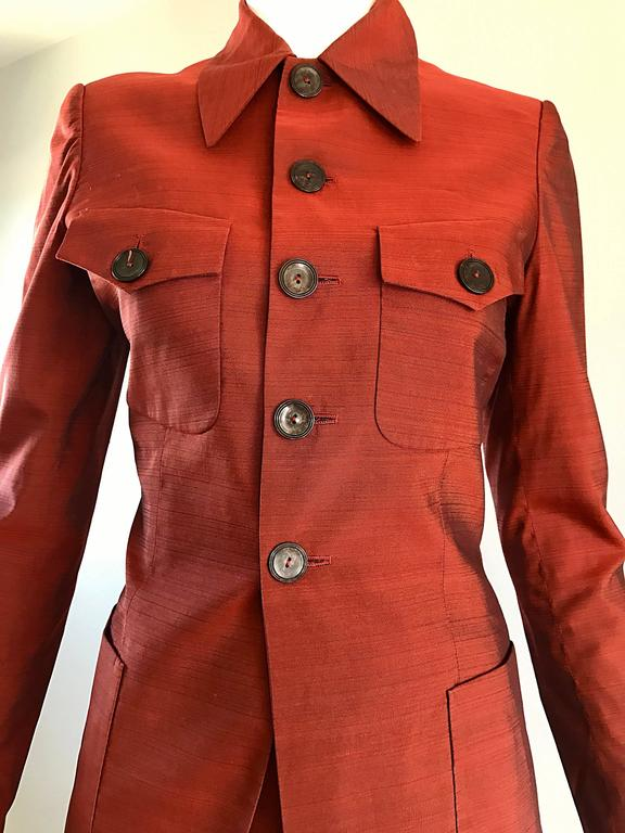 Women's Jean Paul Gaultier Early 1990s Vintage Rust Burnt Orange Tailored Cigarette Suit For Sale