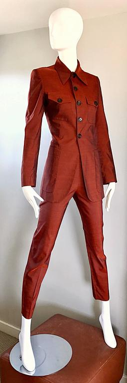 Jean Paul Gaultier Early 1990s Vintage Rust Burnt Orange Tailored Cigarette Suit For Sale 1