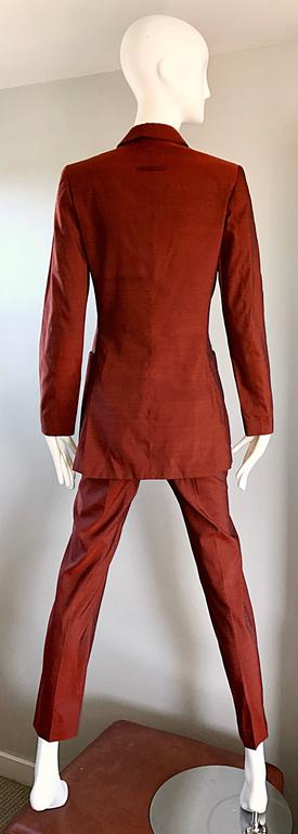 Jean Paul Gaultier Early 1990s Vintage Rust Burnt Orange Tailored Cigarette Suit For Sale 2