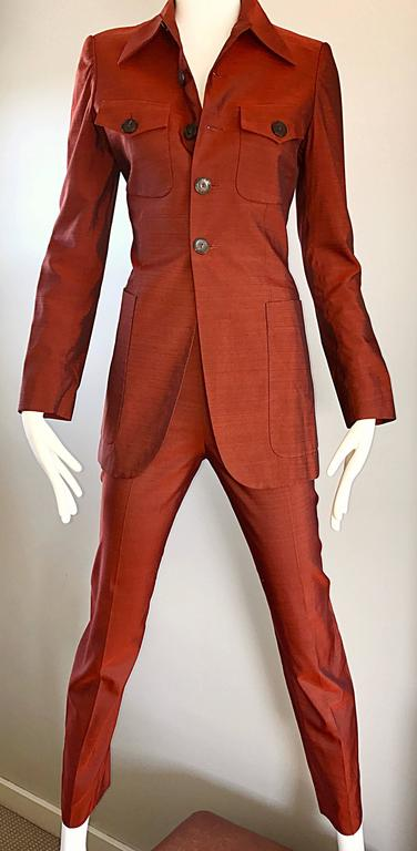 Jean Paul Gaultier Early 1990s Vintage Rust Burnt Orange Tailored Cigarette Suit For Sale 4