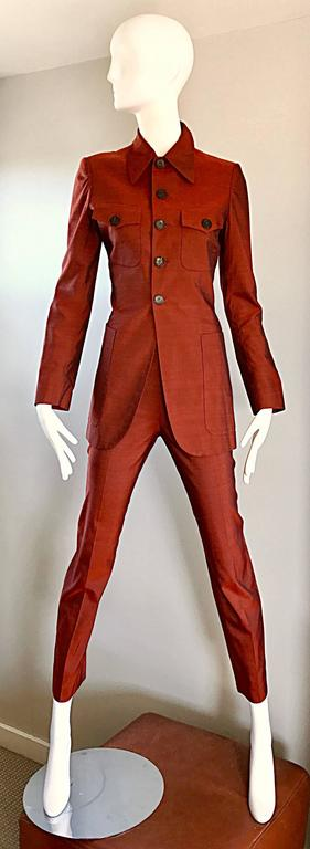 Jean Paul Gaultier Early 1990s Vintage Rust Burnt Orange Tailored Cigarette Suit For Sale 5