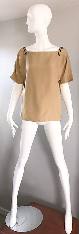 1990s Fendi by Karl Lagerfeld Tan Silk Vintage 90s Boho Tunic Blouse Size 42 2