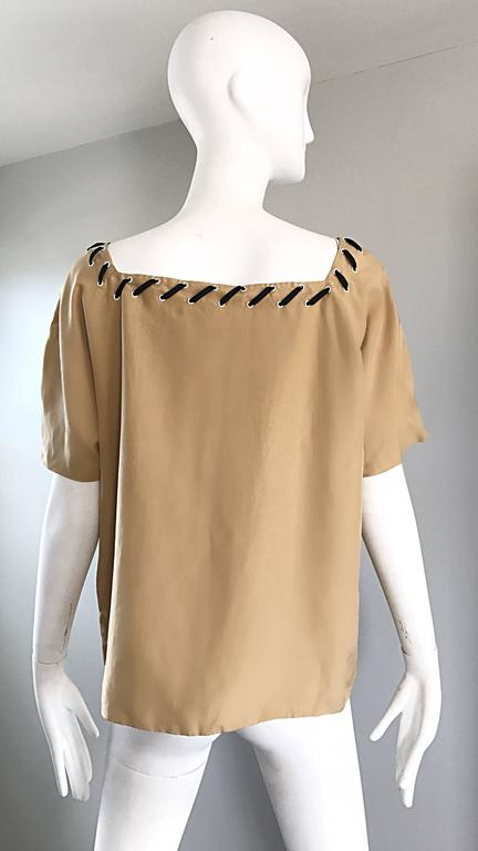 1990s Fendi by Karl Lagerfeld Tan Silk Vintage 90s Boho Tunic Blouse Size 42 3