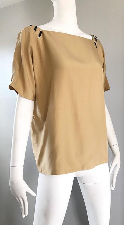 1990s Fendi by Karl Lagerfeld Tan Silk Vintage 90s Boho Tunic Blouse Size 42 4