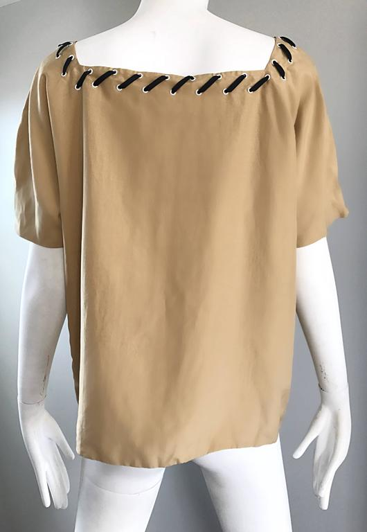 1990s Fendi by Karl Lagerfeld Tan Silk Vintage 90s Boho Tunic Blouse Size 42 6