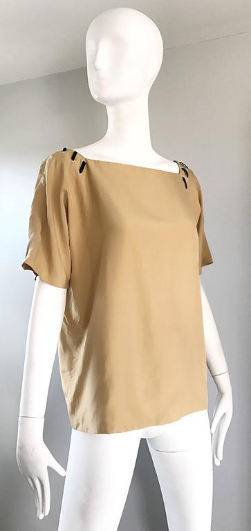 1990s Fendi by Karl Lagerfeld Tan Silk Vintage 90s Boho Tunic Blouse Size 42 7
