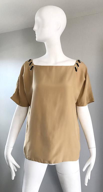 1990s Fendi by Karl Lagerfeld Tan Silk Vintage 90s Boho Tunic Blouse Size 42 9