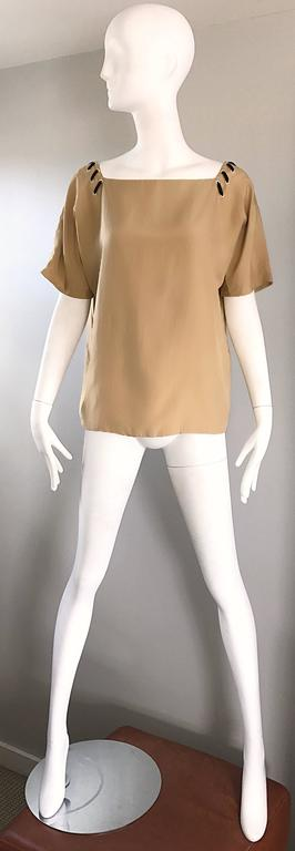 1990s Fendi by Karl Lagerfeld Tan Silk Vintage 90s Boho Tunic Blouse Size 42 8