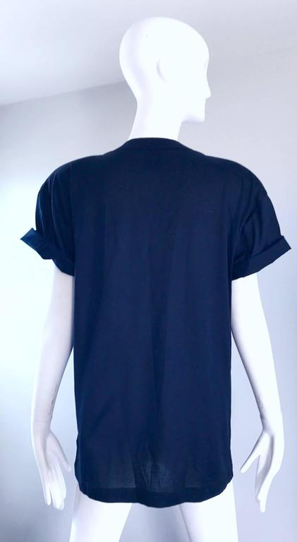 Vintage Escada by Margaretha Ley Navy and Gold Nautical Sequin Tee Shirt Top  In New Condition For Sale In Chicago, IL