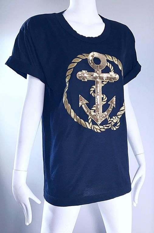 Women's Vintage Escada by Margaretha Ley Navy and Gold Nautical Sequin Tee Shirt Top  For Sale