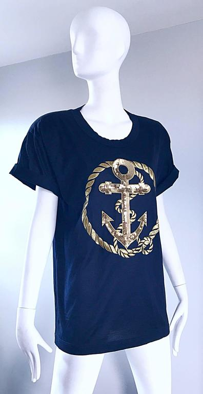 Vintage Escada by Margaretha Ley Navy and Gold Nautical Sequin Tee Shirt Top  For Sale 2