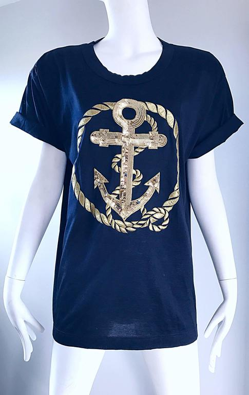 Vintage Escada by Margaretha Ley Navy and Gold Nautical Sequin Tee Shirt Top  For Sale 3