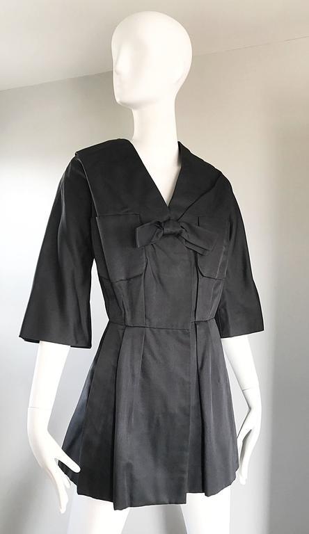 1950s Christian Dior By Yves Saint Laurent Black Silk