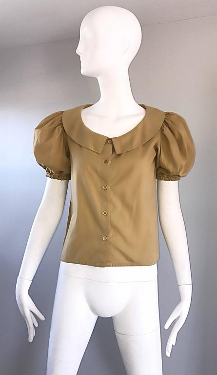 Rare 1970s Willi Smith Khaki Tan Cotton Puff Sleeve Avant Garde Vintage Blouse  3
