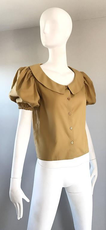 Rare 1970s Willi Smith Khaki Tan Cotton Puff Sleeve Avant Garde Vintage Blouse  4