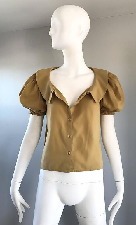 Rare 1970s Willi Smith Khaki Tan Cotton Puff Sleeve Avant Garde Vintage Blouse  5