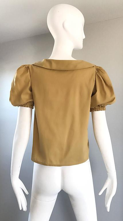 Rare 1970s Willi Smith Khaki Tan Cotton Puff Sleeve Avant Garde Vintage Blouse  6