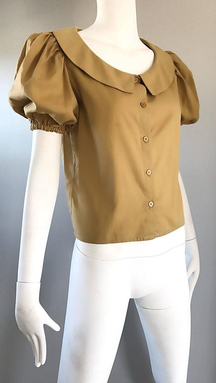 Rare 1970s Willi Smith Khaki Tan Cotton Puff Sleeve Avant Garde Vintage Blouse  8