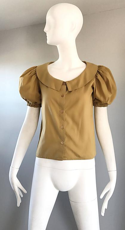 Rare 1970s Willi Smith Khaki Tan Cotton Puff Sleeve Avant Garde Vintage Blouse  9