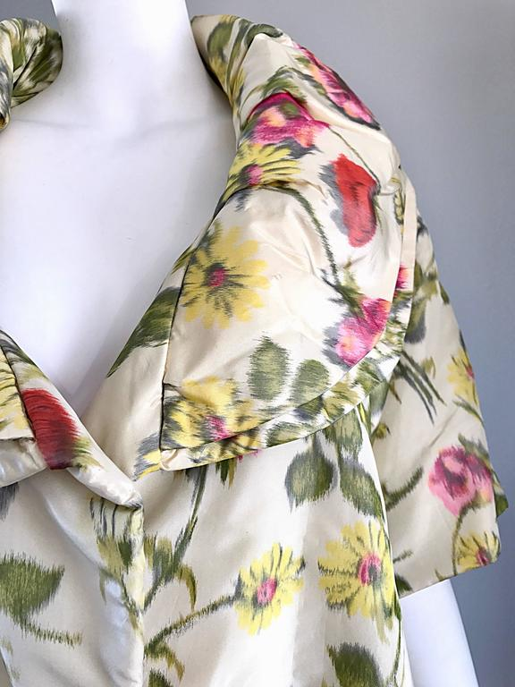 Beige Lillie Rubin Floral Silk Vintage Trapeze Swing Opera Jacket Coat, 1950s  For Sale