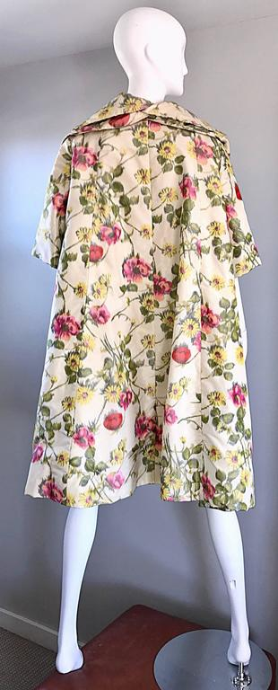 Beautiful 1950s Lillie Rubin Floral Silk Vintage Trapeze Swing Opera Jacket Coat 4