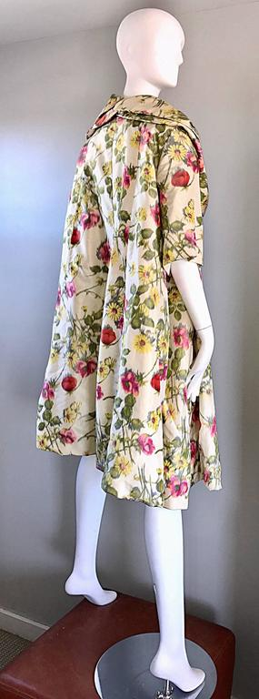 Lillie Rubin Floral Silk Vintage Trapeze Swing Opera Jacket Coat, 1950s  For Sale 2