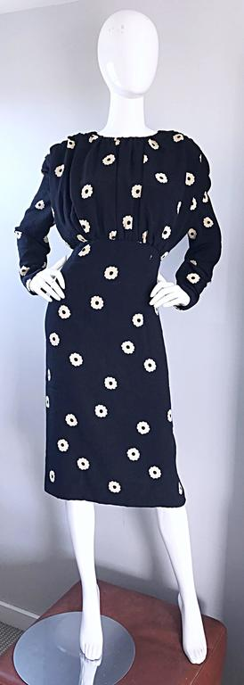 Pauline Trigere For Neiman Marcus Larger Size Vintage Black and White Silk Dress 9