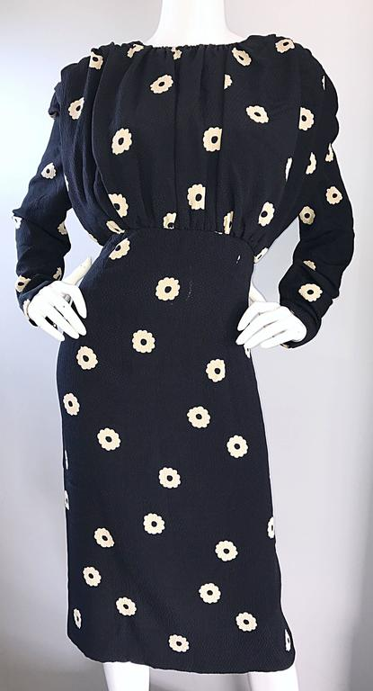 Pauline Trigere For Neiman Marcus Larger Size Vintage Black and White Silk Dress 6