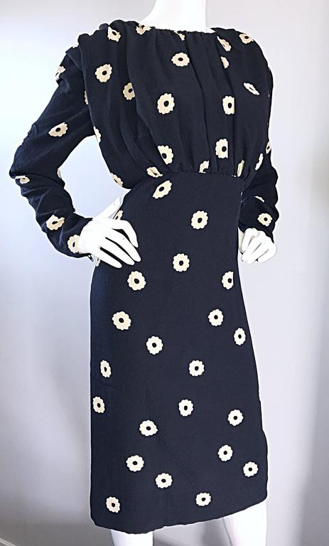 Pauline Trigere For Neiman Marcus Larger Size Vintage Black and White Silk Dress 8