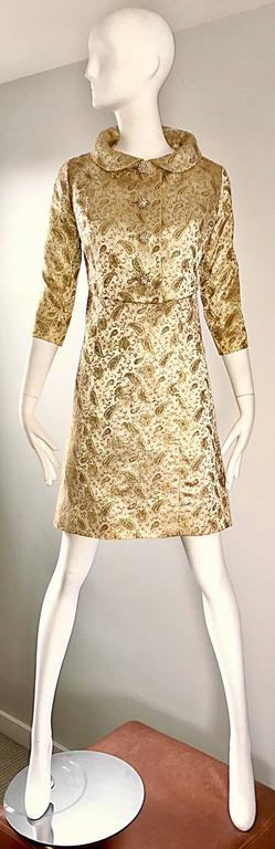 Gorgeous 1960s Gold Silk Brocade Paisley 60s Vintage Dress