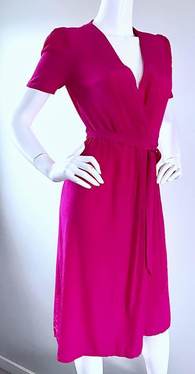 1970s Diane Von Furstenberg Vintage Shocking Hot Pink Silk