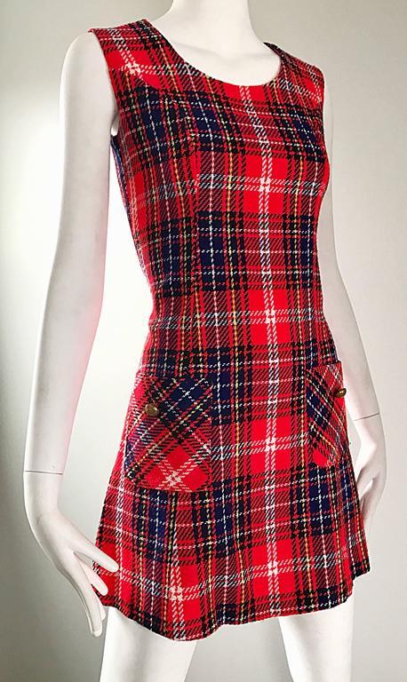 Brown 1960s Tartan Plaid Mod Vintage 60s Wool A - Line Chic Mini Skooter Dress  For Sale