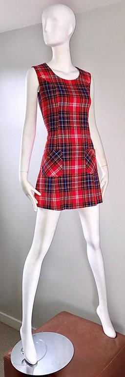 1960s Tartan Plaid Mod Vintage 60s Wool A - Line Chic Mini Skooter Dress  For Sale 1