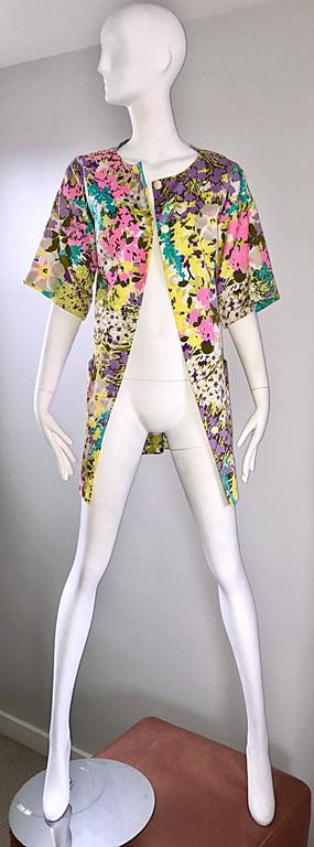 Women's Chic 1960s Tori Richard for I Magnin Colorful Vintage Mini Dress or Swing Jacket For Sale