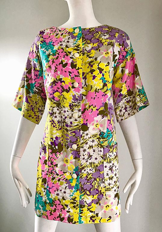 Chic 1960s Tori Richard for I Magnin Colorful Vintage Mini Dress or Swing Jacket For Sale 1