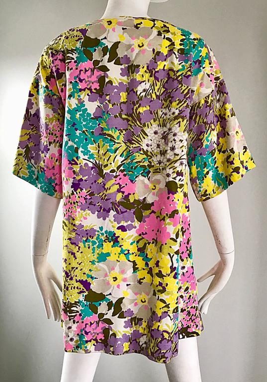 Chic 1960s Tori Richard for I Magnin Colorful Vintage Mini Dress or Swing Jacket For Sale 3