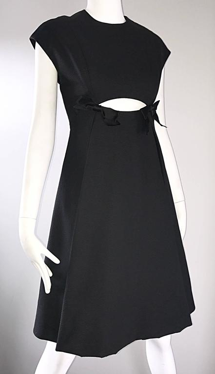 Women's Geoffrey Beene 1960s Rare Black Silk Cut - Out Space Age A - Line Vintage Dress For Sale