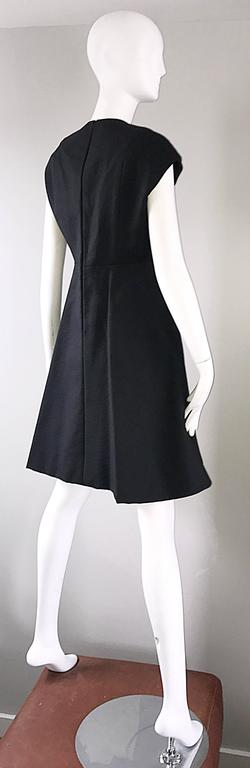 Geoffrey Beene 1960s Rare Black Silk Cut - Out Space Age A - Line Vintage Dress For Sale 4