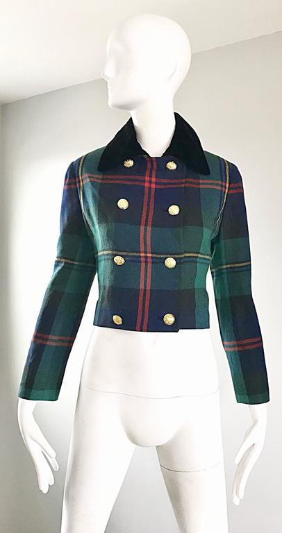 Chic early 90s RALPH LAUREN 'Purple Label' tartan plaid double breasted cropped blazer! Features the classic red, blue hunter green and yellow plaid on a soft virgin wool. Black silk velvet collar, with eight nautical themed gold buttons up the