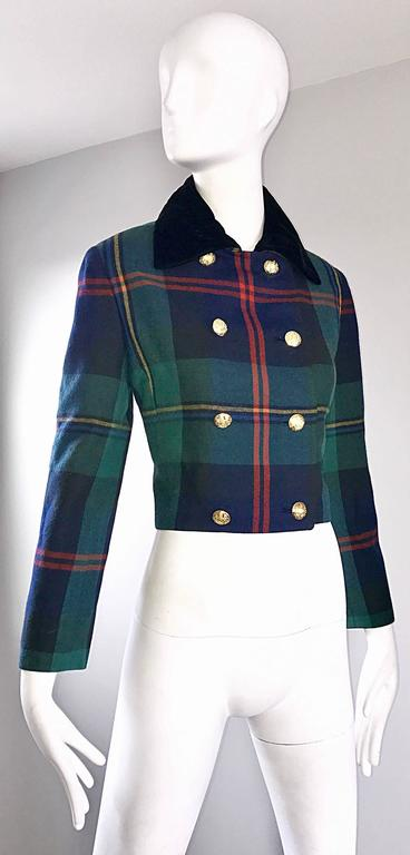 Chic 1990s Ralph Lauren Purple Label Tartan Plaid Vintage Cropped Wool Jacket  For Sale 2