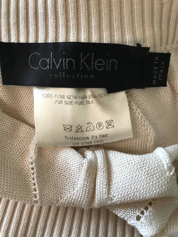 1990s Calvin Klein Collection Ivory Silk Mini Skirt Or Strapless Top Unworn 90s For Sale 5
