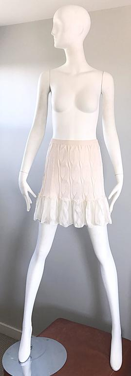 Chic vintage 1990s unworn CALVIN KLEIN COLLECTION silk mini skirt OR strapless top! This is one of those pieces that TRULY can be worn as wither a skirt or blouse, and looks like it is supposed to actually be one of those! Classic off-white ivory