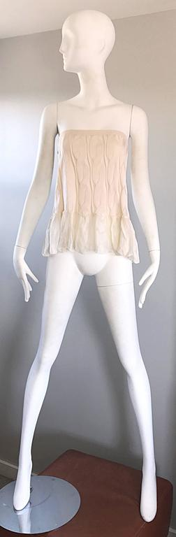 Beige 1990s Calvin Klein Collection Ivory Silk Mini Skirt Or Strapless Top Unworn 90s For Sale