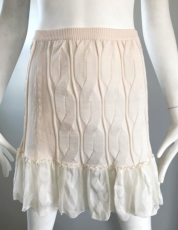 1990s Calvin Klein Collection Ivory Silk Mini Skirt Or Strapless Top Unworn 90s In New Condition For Sale In Chicago, IL