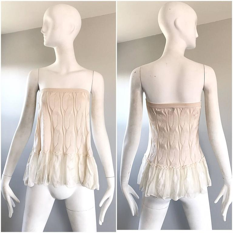 Women's 1990s Calvin Klein Collection Ivory Silk Mini Skirt Or Strapless Top Unworn 90s For Sale