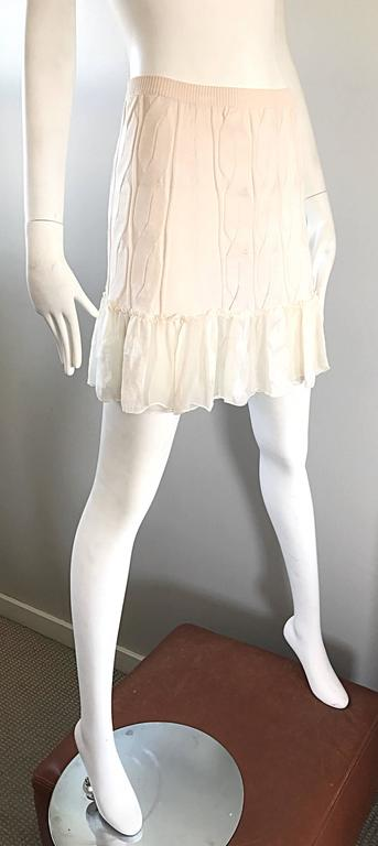 1990s Calvin Klein Collection Ivory Silk Mini Skirt Or Strapless Top Unworn 90s For Sale 1