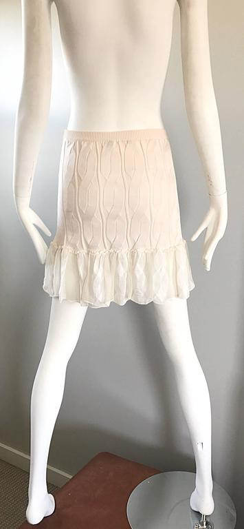 1990s Calvin Klein Collection Ivory Silk Mini Skirt Or Strapless Top Unworn 90s For Sale 2