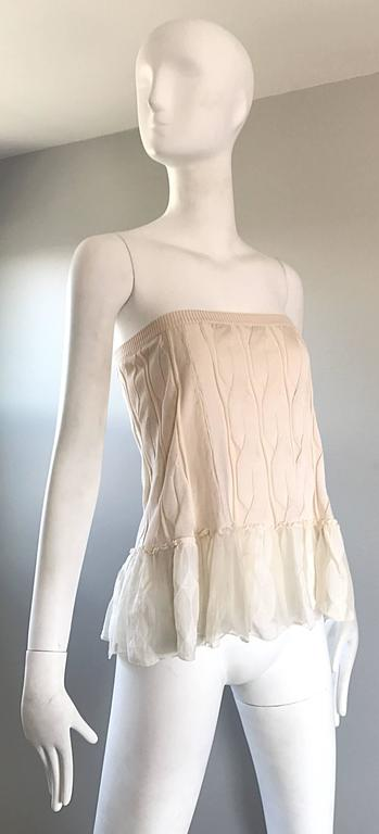 1990s Calvin Klein Collection Ivory Silk Mini Skirt Or Strapless Top Unworn 90s For Sale 3