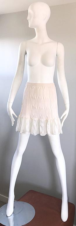 1990s Calvin Klein Collection Ivory Silk Mini Skirt Or Strapless Top Unworn 90s For Sale 4